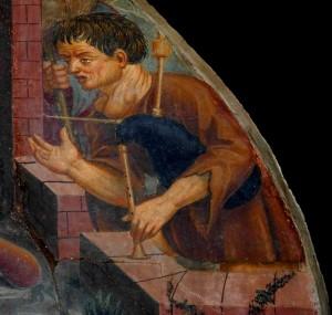 Cornamusiere gozzuto del portale della cattedrale di Aosta - Foto di Gian Mario Navillod.