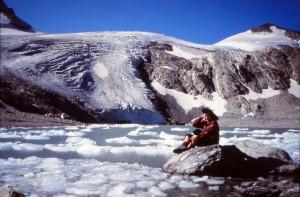 Il lago ed il ghiacciaio di Goletta nel 1985. Foto cortesia di Marco Brancolini - Ogni diritto riservato.